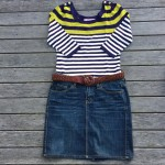 Review striped 3/4 sleeved top, Espirit denim skirt, Country Road belt