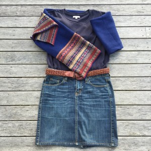 Espirit denim skirt, Country Road leather belt, Cordings cashmere scarf and cotton jumpe