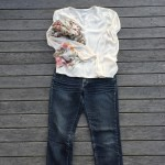 Just Jeans skinny jeans, Silk long sleeved blouse, Laura Ashley scarf