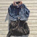 Sage black short sleeve dress, Queenspark denim jacket, floral Laura Ashley scarf