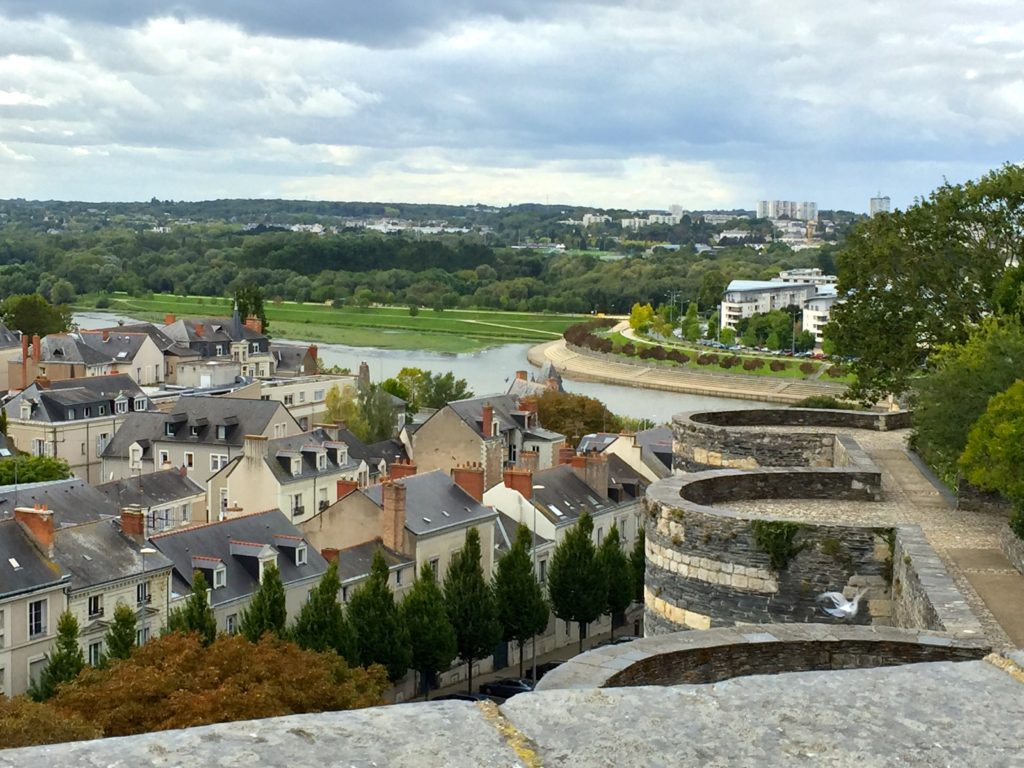 View of the Maine River and town of Angers from Château d' Angers ramparts
