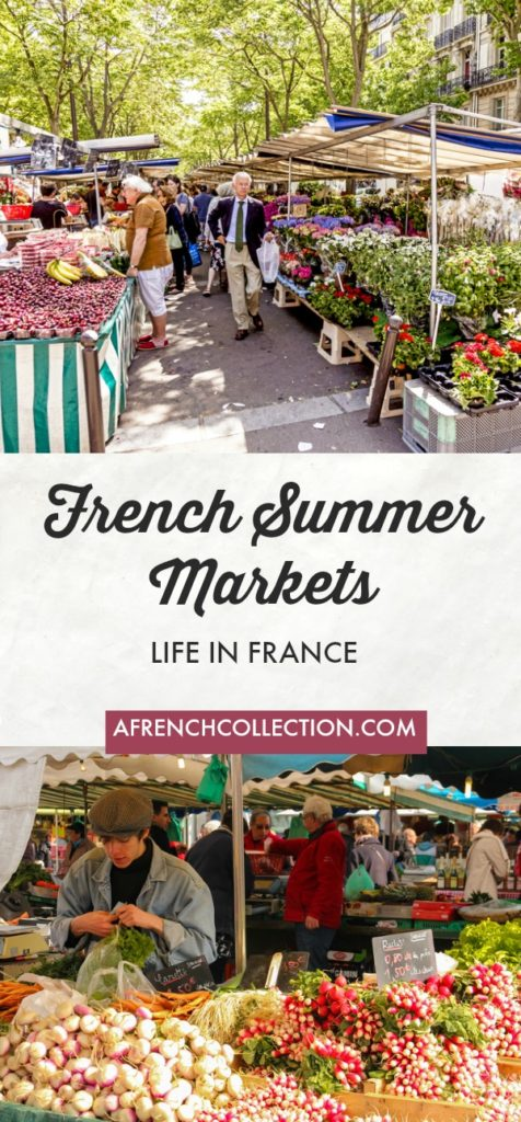 French summer market scenes with fruit, vegetables and flowers