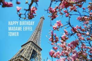 Eiffel Tower with magnolias text