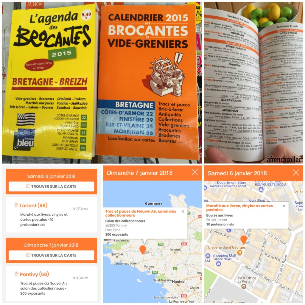 French market guide books and website mobile phone screenshots