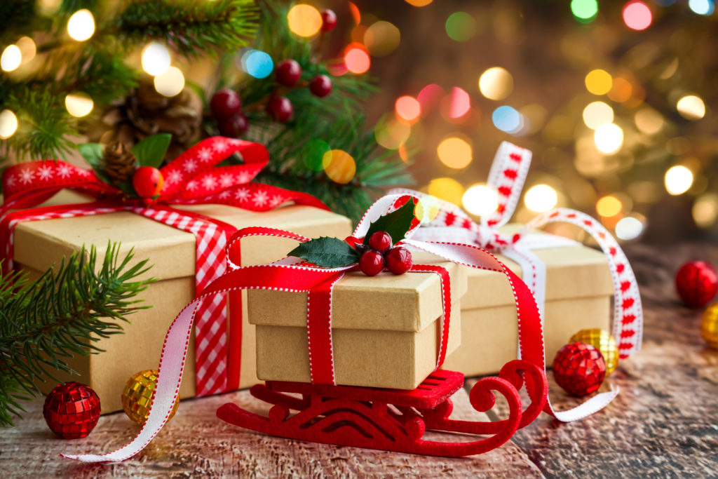 Christmas presents under tree for national French holiday