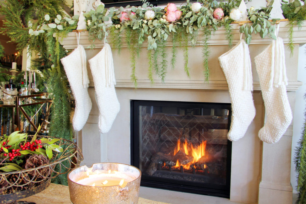 Christmas Mantle.Christmas Mantle With Stockings And Winter Fire A French