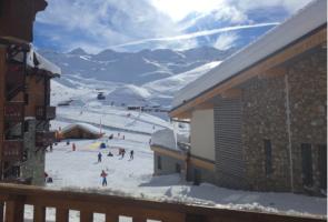 French Alps ski field in winter