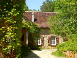 French gite in France with green trees