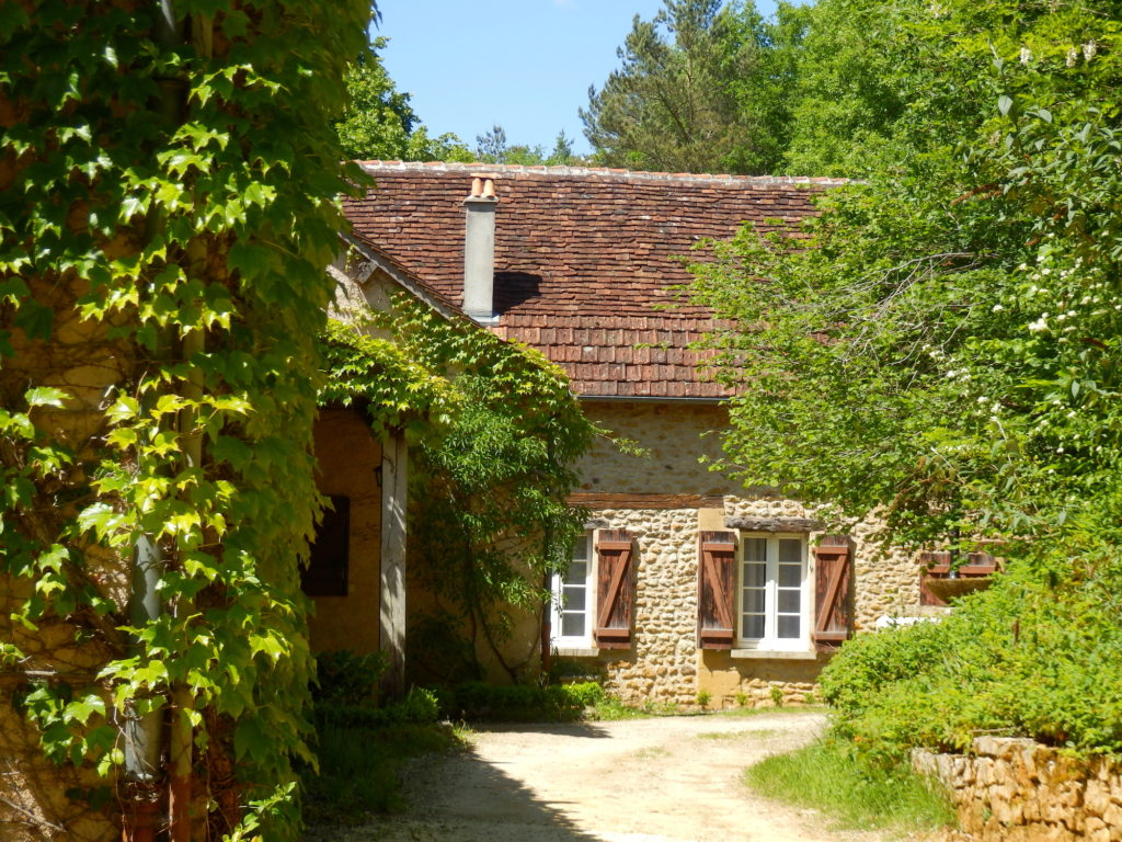 French farmhouse gite in France with green summer trees and vines