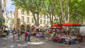 Aix en Provence, France town square with market