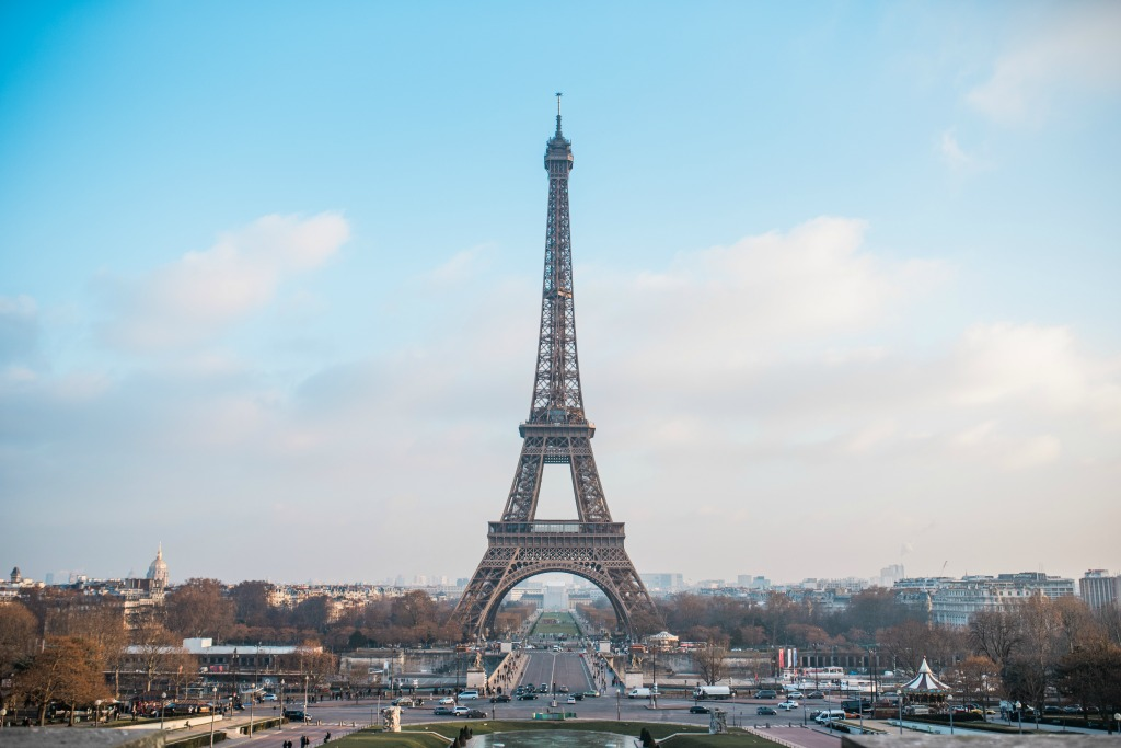 Eiffel Tower on Saint Patrick's Day in Paris